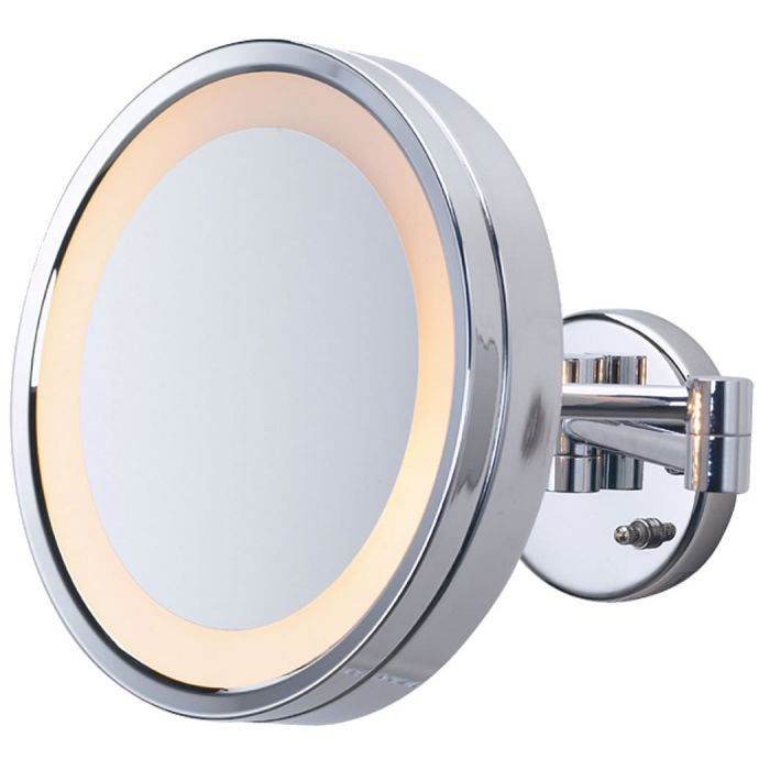 Jerdon Large Round 3x Halo-Lighted Wall-Mount Plug-in Vanity Mirror