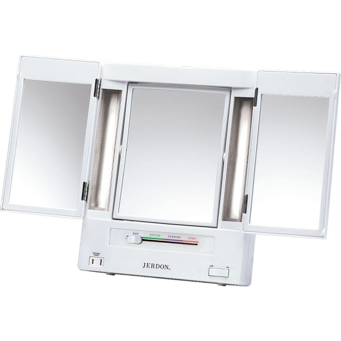 Jerdon 5x/1x Reversible Tri-Fold Fluorescent Lighted Vanity Mirror with 4 Light Settings