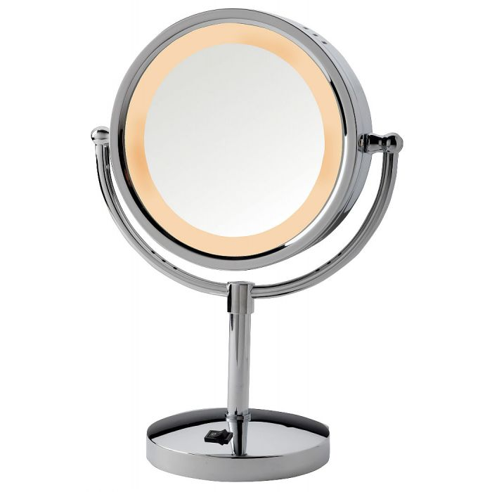 Jerdon 5x/1x LED Halo-Lighted Polished-Base Vanity Mirror with AC Outlet