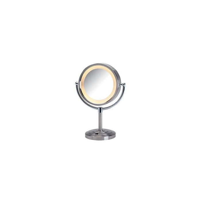 Jerdon 5x/1x LED Halo-Lighted Tiered-Base Vanity Mirror