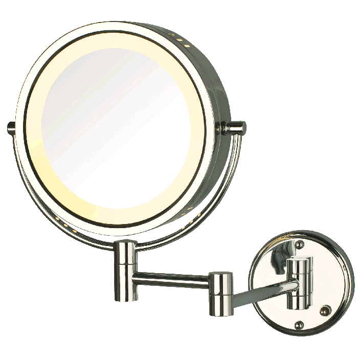 8x/1x Reversible Hardwired Makeup Mirror by Jerdon - 3 Finishes