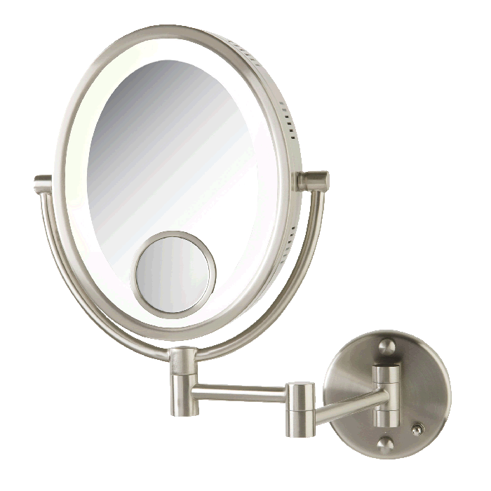 Jerdon Lighted 10x/1x Plug-In Makeup Mirror with 15x Spot Mirror, Satin Nickel Finish