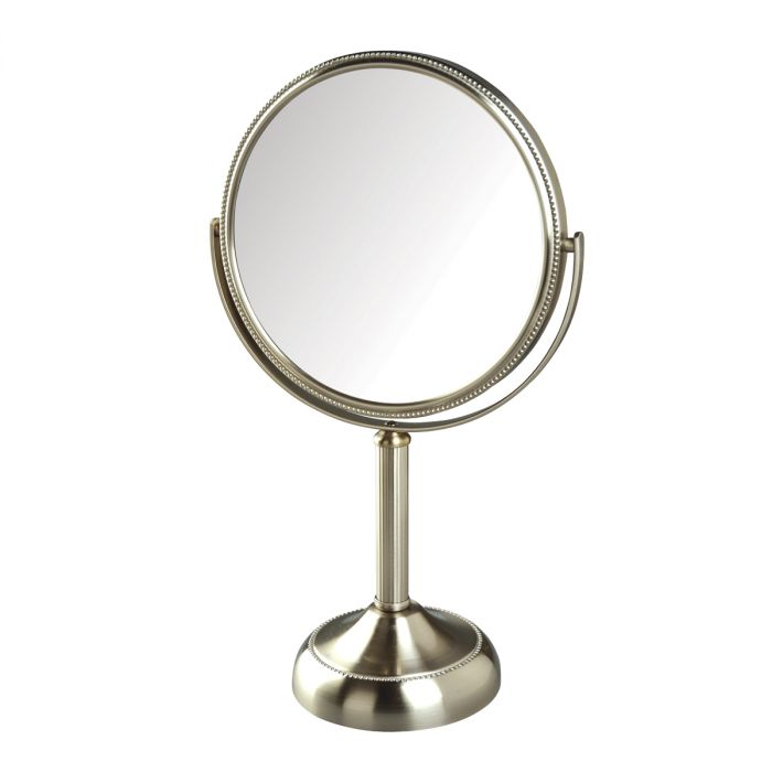 Jerdon 10x/1x Reversible, Beaded Stand Vanity Mirror, 3 Finishes