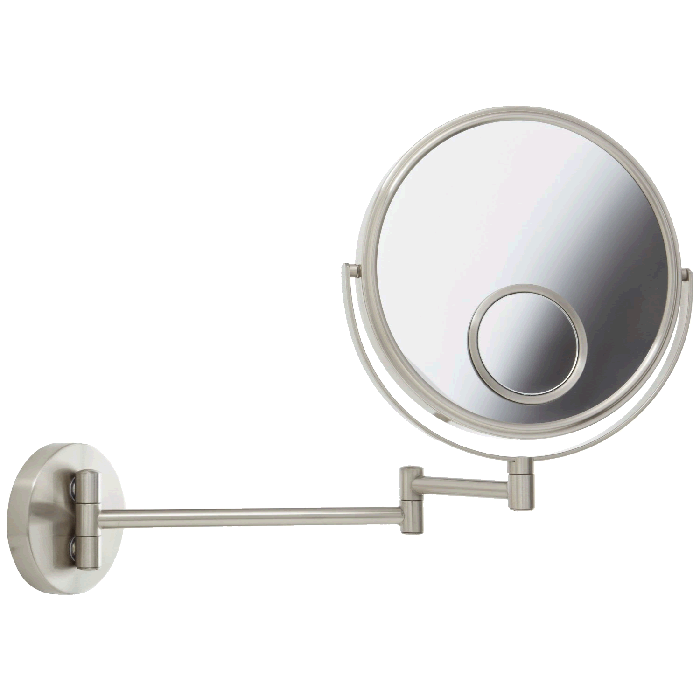 Jerdon Reversible 1x/10x Wall-Mount Makeup Mirror with 15x Spot Mirror