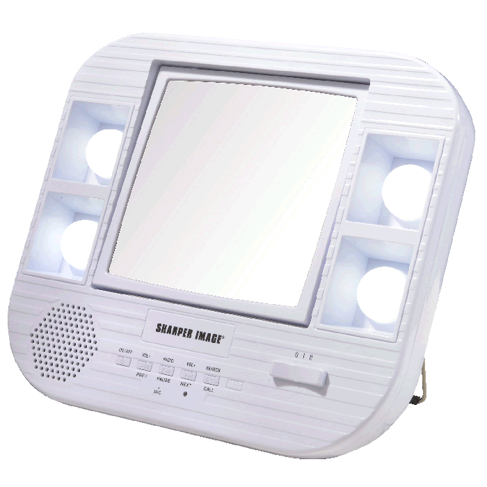 Sharper Image Bluetooth Battery or AC LED 5x/1x Vanity Mirror