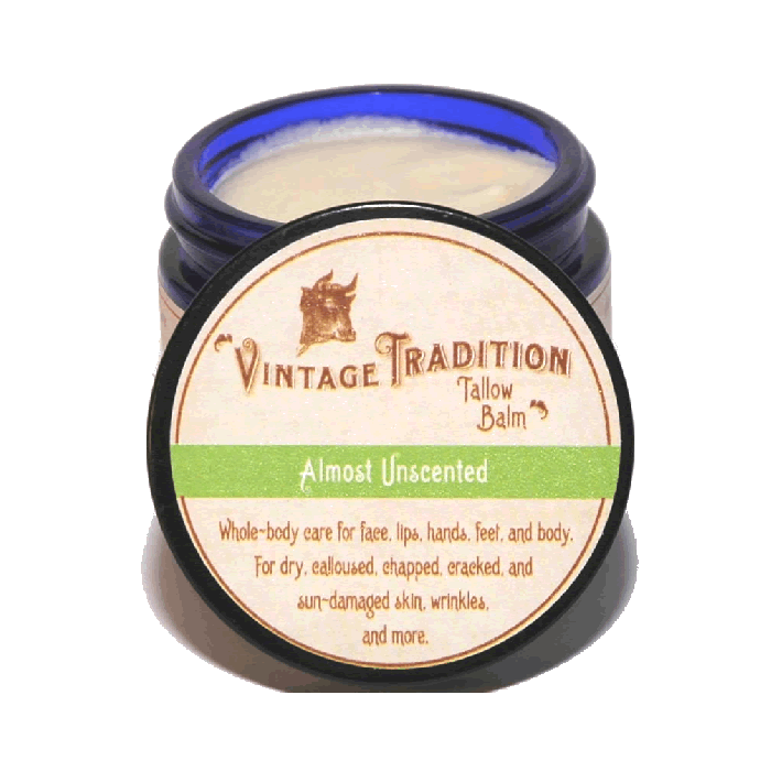 Almost Unscented Tallow Balm by Vintage Tradition - 2 oz. or 9 oz.