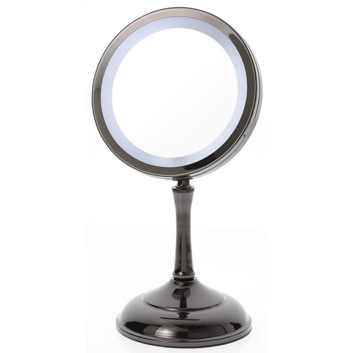 OPEN BOX! Gun Metal Black Flip-Up LED Makeup Mirror D824 by Danielle Creations