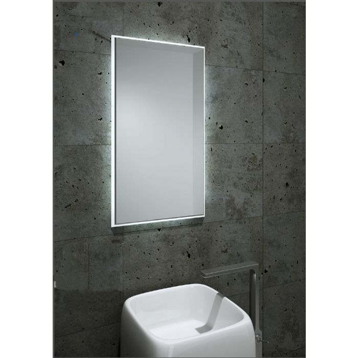 Aamsco Fractal Backlit LED Mirror with Beveled Matte Border - 2 Sizes