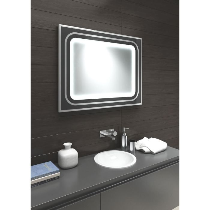 Aamsco Halo LED Backlit Mirror with Backlit Central Mirror Ringed in Black/Silver Glass and Aluminum