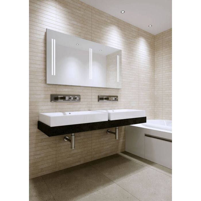 Aamsco UNICO 5 Backlit Mirror has Triple Sets of Double Vertical LED Light Bands