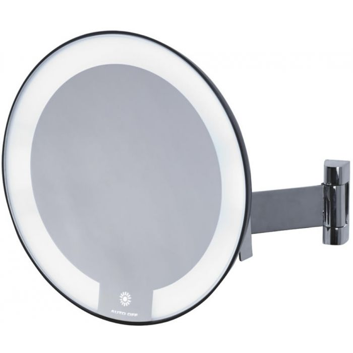 JVD Cosmos Flat Arm 5x LED Cosmetic Mirror - Requires no Electrical Connection - Chrome or Black