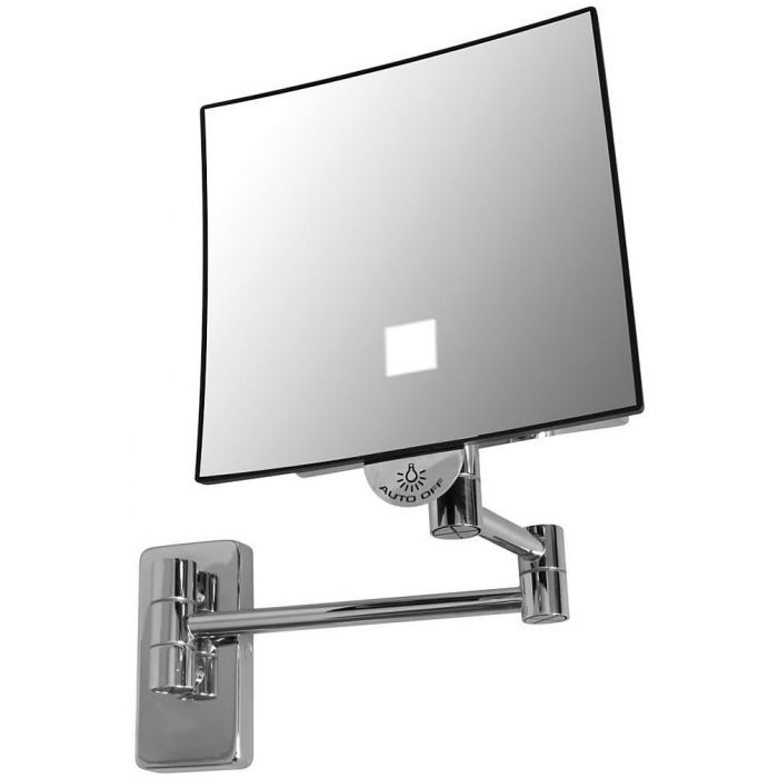 JVD Eclips Tubular Arm 3x LED Spot-Light Square Vanity Mirror, Lithium Ion Battery, Polished Chrome
