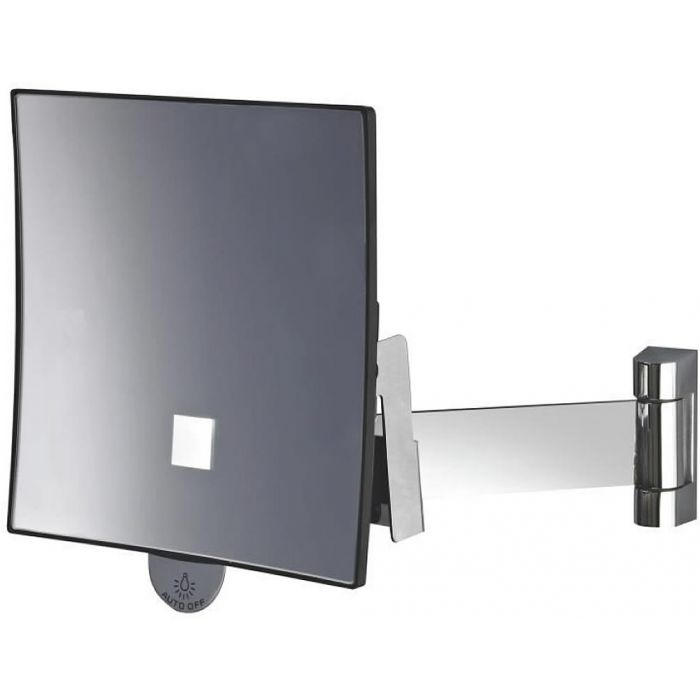 JVD Eclips Flat Arm 3x LED Spot-Lighted Square Vanity Mirror, Lithium Ion Battery, Polished Chrome