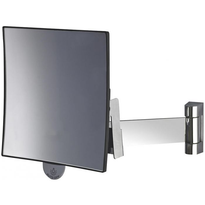 JVD Eclips Flat Arm 3x Square Wall-Mount Vanity Mirror -  Polished Chrome