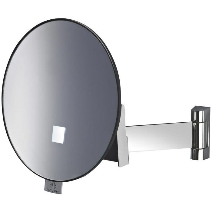 JVD Eclips Flat Arm 3x LED Spot-Lighted Round Vanity Mirror, Lithium Ion Battery, Polished Chrome