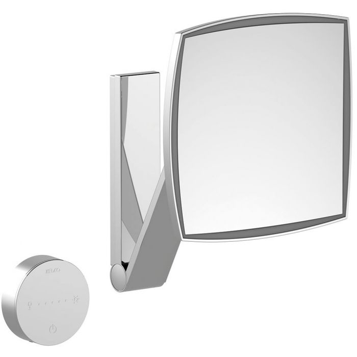 KEUCO 5x Hardwired Square Adjustable Color Temperature LED Cosmetic Mirror with Glass Control Panel